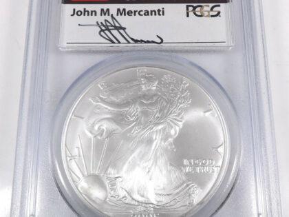2005 1$アメリカ シルバーイーグル銀貨 PCGS MS 70 Fファーストストライク Mercanti(マーカンティーサインラベル) 希少レア